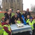 12 January 2018 - Here I am with children from Castle View Academy, Northern Saints and Hylton Castle Primary Schools, as they presented a time capsule to construction workers to bury at Hylton Castle to mark the official launch of restoration work.