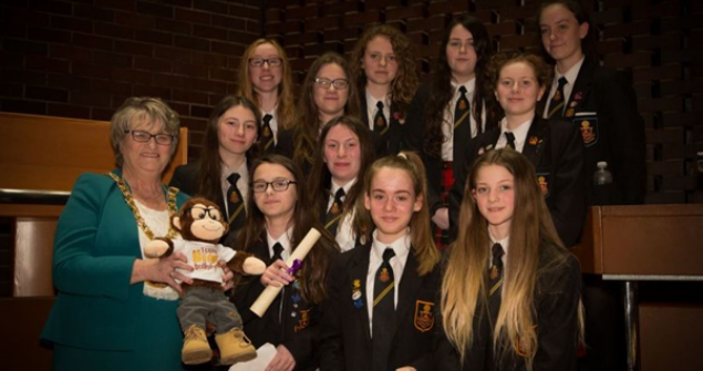 16 March 2018 - Here I am with some pupils at the Anti-Bullying Celebration Event held in the Council Chamber of the Civic Centre.