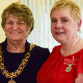 9 April 2018 - Mrs Violet Atkinson was presented with a British Empire Medal (BEM) by Her Majesty's Lord Lieutenant of Tyne and Wear, Mrs Susan Winfield OBE during a ceremony in the Mayor's Parlour at Sunderland Civic Centre.