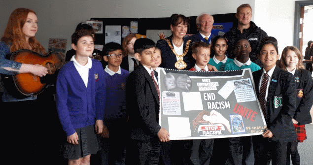 20 June 2018 - Children from local schools held an exhibition of their work at Hope Street Xchange after reading 'Heartstone Odyssey' which deals with racism and helps young people to challenge intolerance.