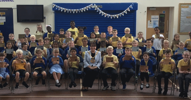 20 July 2018 - I visited Dame Dorothy Primary School to give certificates at their annual attendance assembly which celebrated the children's attendance throughout the term and year.