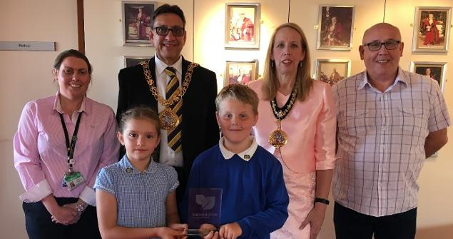 4 July 2019 (b) - Olivia McKay and Joshua Maitland from Wessington Primary School visited the Mayor's Parlour to receive their award for the Reduce Reuse Recycle inter school poster competition.